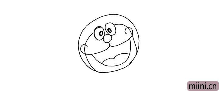 4.然后勾勒出哆啦A梦的脸蛋。