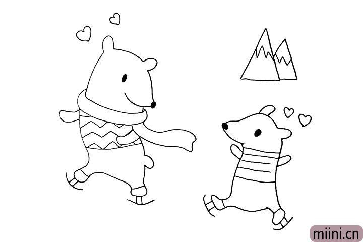 11.我们把周围装饰一下画出冰山以及爱心。