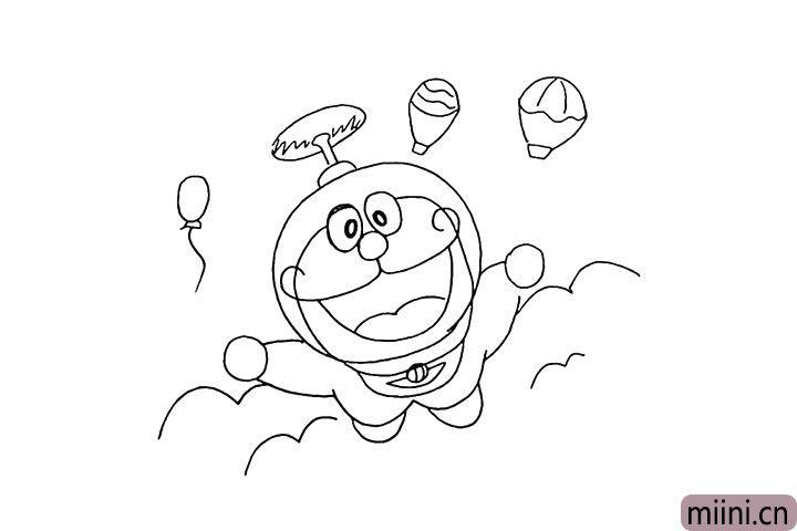 10.我们再把周围装饰一些热气球和云海。