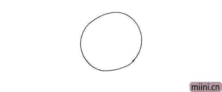 1.首先画上一个圆.是哆啦A梦的头部。