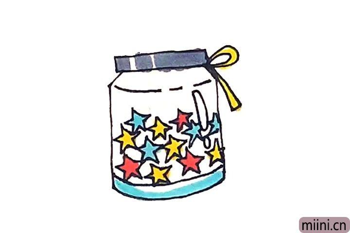 6.最后涂上好看的颜色,许愿瓶就这样画好了。