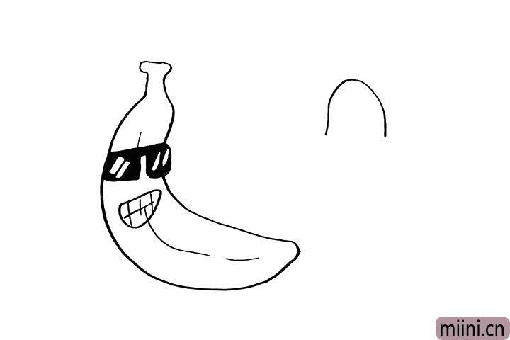 4.然后在旁边画出另一个香蕉.先画出香蕉头。