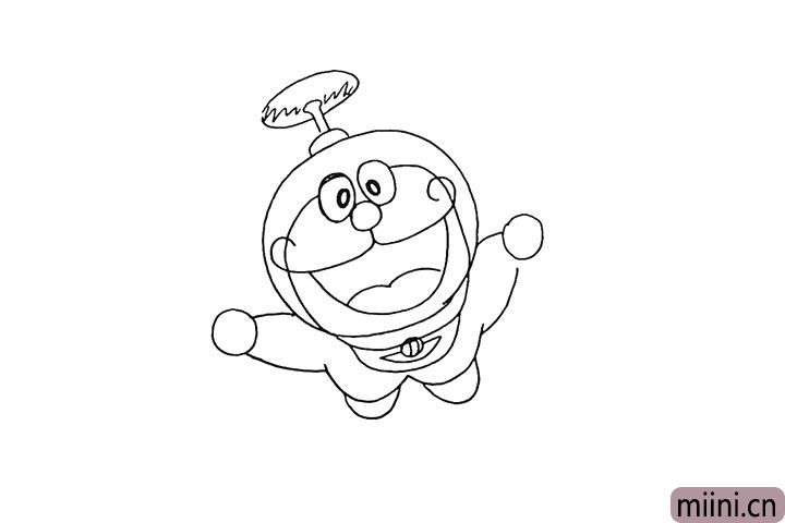 9.再来画出哆啦A梦头顶的竹蜻蜓。