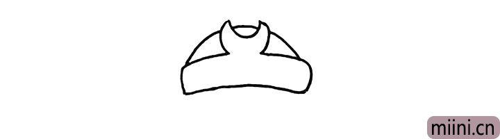 2.绕过头箍用弧线连接出他的头顶部分。