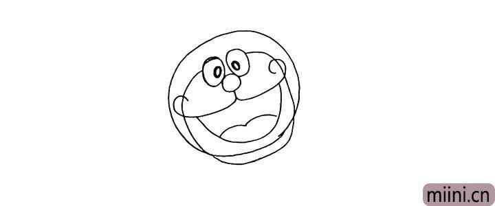 5.向下用一条弧线画出哆啦A梦的脖子。