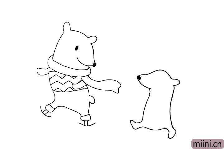 7.在旁边画出一只小熊.先画出身体轮廓。