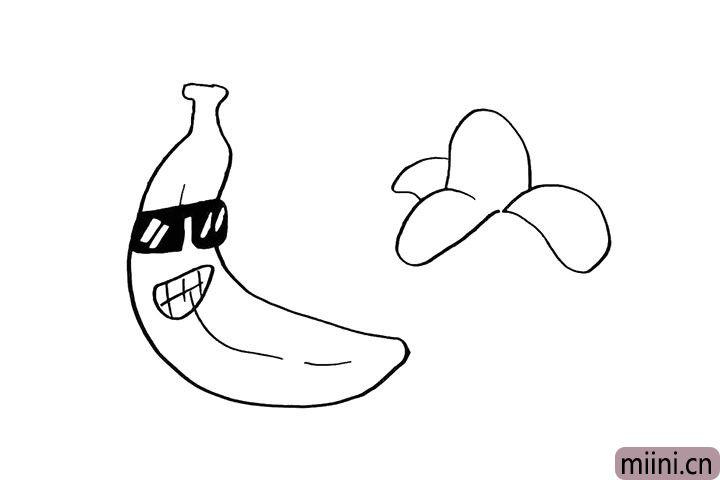 5.这个是剥开的香蕉.再画出剥开的香蕉皮。