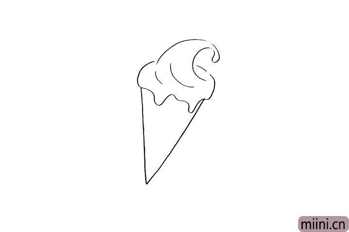 2.在字母V的上面画出冰激凌的奶油。