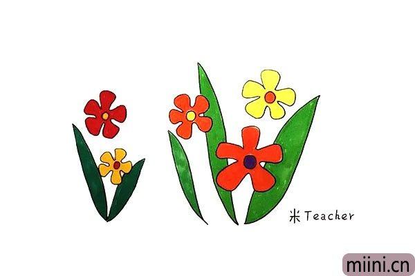7.最后我们把太阳花涂上漂亮的颜色吧。