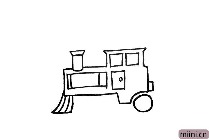 5.接着勾勒出它的车轮和扫地刷。