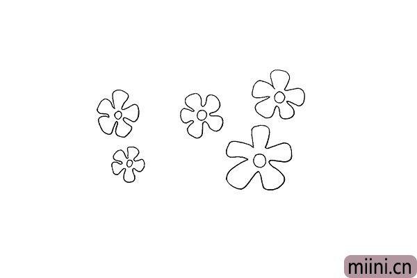 5.可以多画出一些花朵.画上大小不一的花朵。