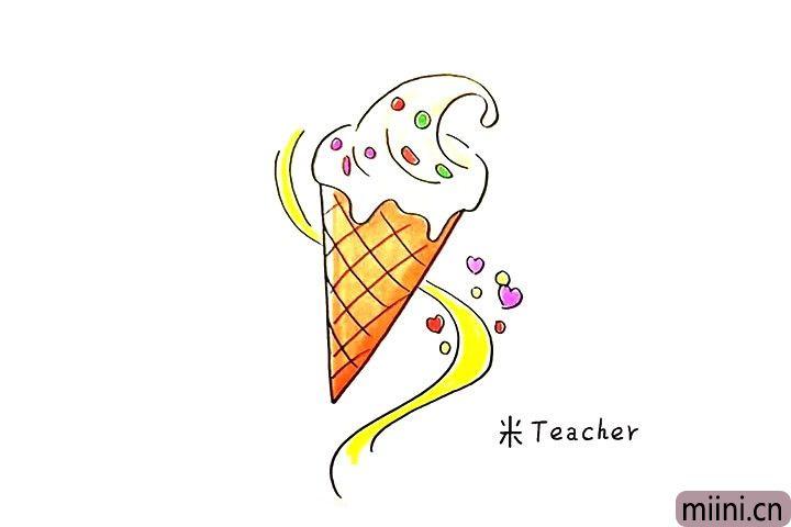 7.最后把美味可口的冰激凌涂上漂亮的颜色吧。