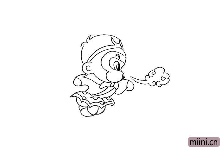 12.然后在他的嘴边画出一朵筋斗云。