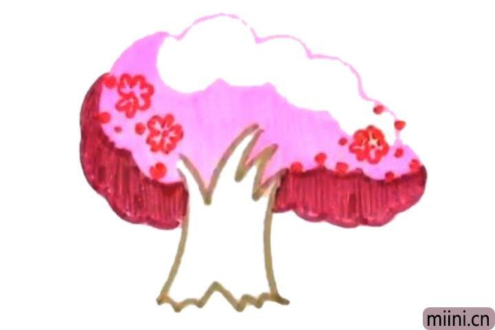 4.在树冠上画一些花朵。