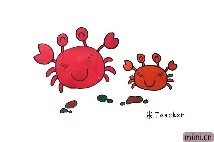 两只快乐玩耍的螃蟹简笔画步骤教程
