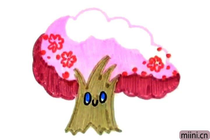 5.在树干上画上可爱的表情,并给树干涂上颜色。
