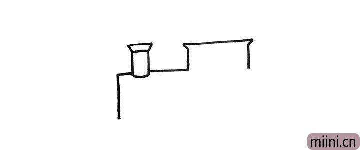 2.再用直线连接出它的车身.先画出上半部分。