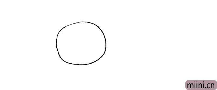 1.首先画一个圆形.作为螃蟹的外壳。
