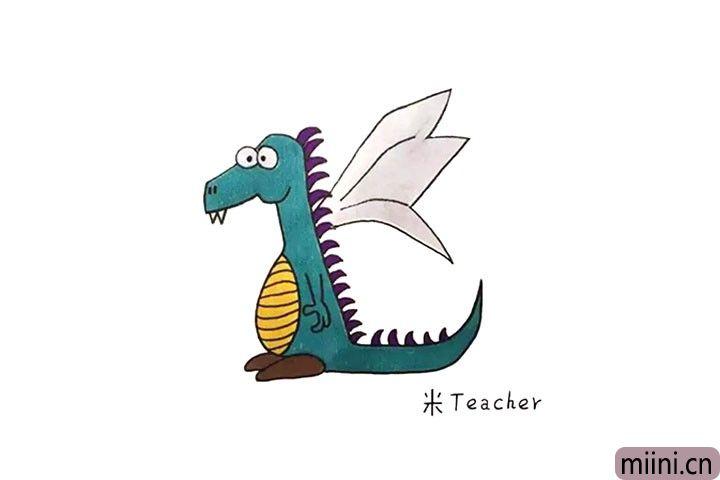 站立起来带翅膀的恐龙简笔画步骤教程