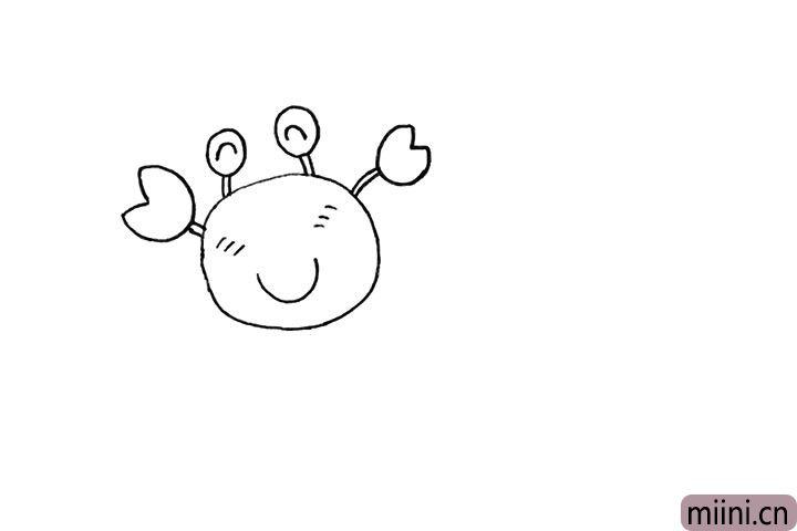 4.还有螃蟹大大的钳子也勾勒出来。
