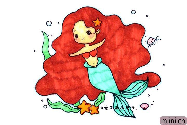 漂亮的美人鱼简笔画步骤教程