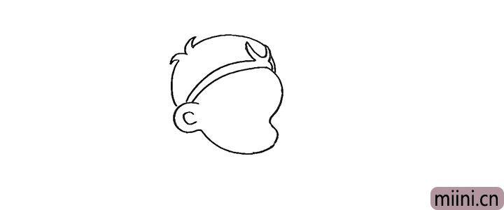 4.然后画出他的头顶部分。