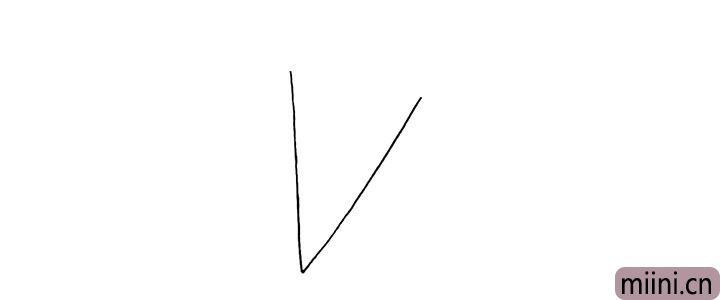 1.首先画一个大大字母V.注意要画的倾斜一些。