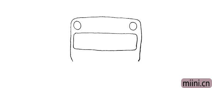 2.在上方画出两个圆和一个长方形。