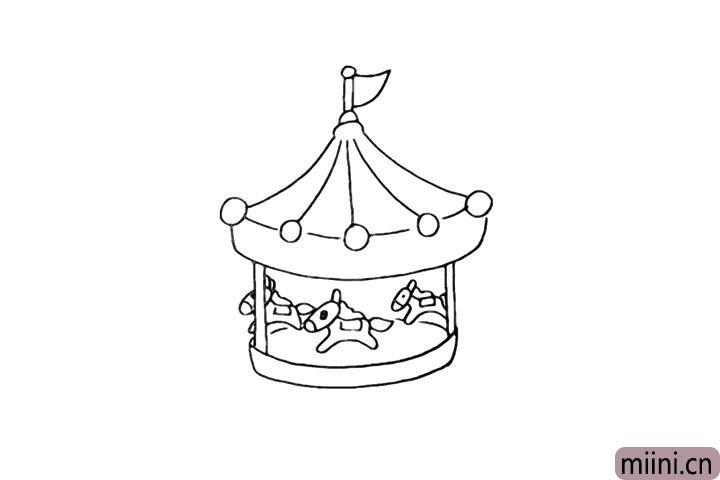 5.向下画出旋转木马的地盘部分。