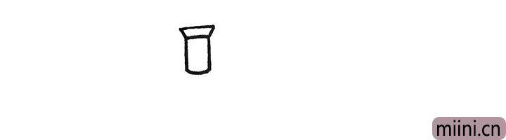 1.首先画上扫地车的烟囱.一个圆柱上面一个倒梯形。