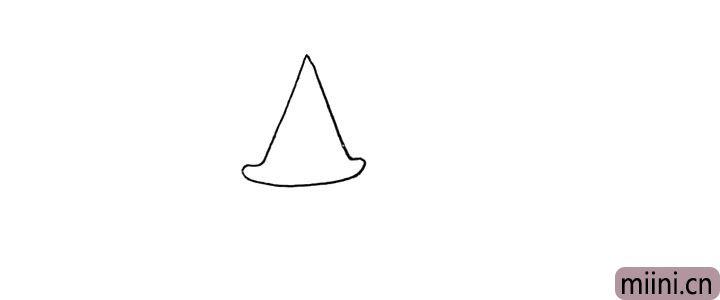1.首先画一个像帽子一样的三角形作为房顶。
