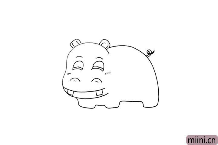6.然后画出它小小的尾巴和脸色的纹理。