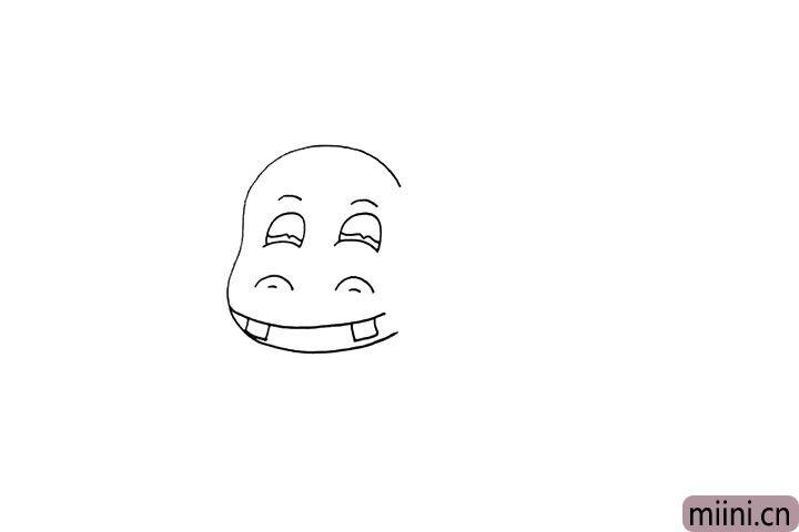 3.向下画出它的鼻孔和嘴巴.漏出了两颗大门牙。