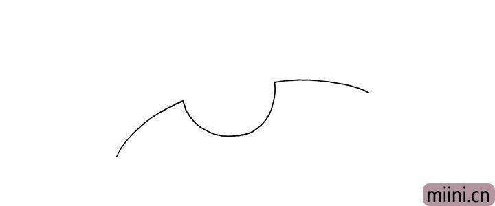 1.首先画一条凹形的曲线.作为机身的上半部分。