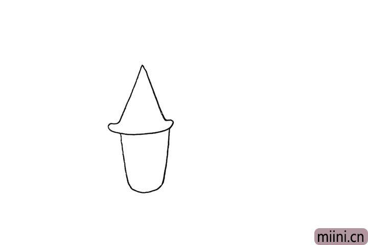 2.再用一个圆柱形画出它的房身部分。