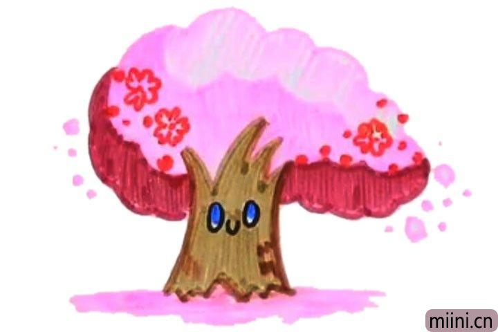 漫天飞舞花瓣的樱花树简笔画步骤教程