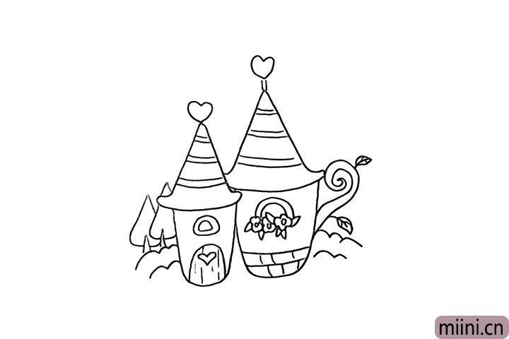 8.然后我们把橘色小屋的背景也布置一下。