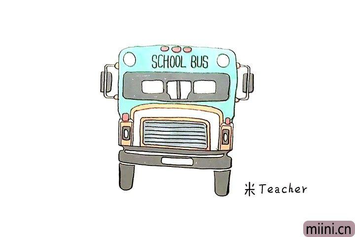 送小朋友上学的校车简笔画步骤教程