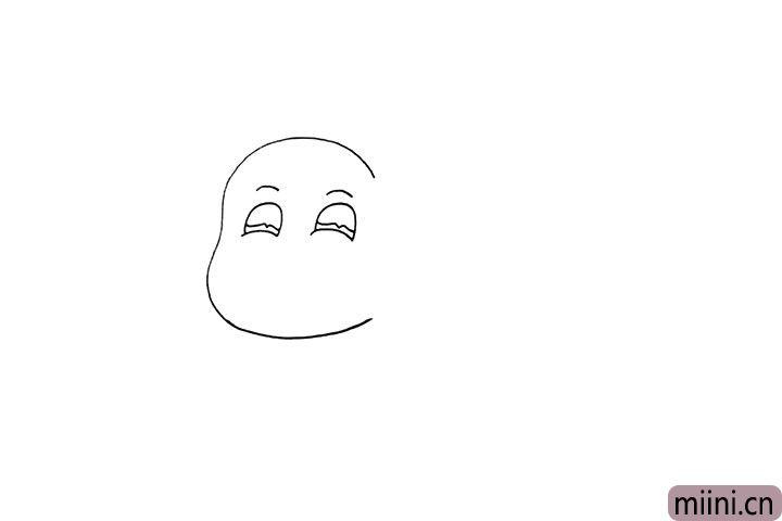 2.再画上河马的眼睛和眉毛.注意眼睛的形状。