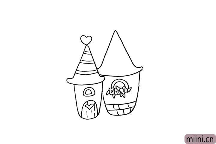 6.用砖块和花篮把房身装饰一下。