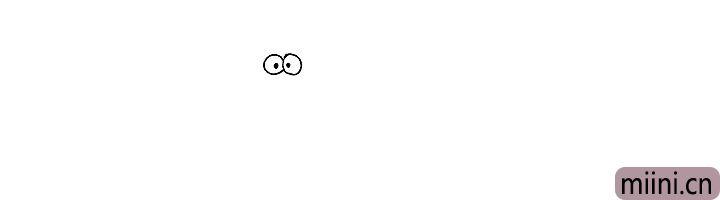 1.首先画出翼龙又小又圆的眼睛.再点上小小的眼珠。