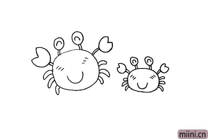 6.用同样的画法在旁边画一只小的螃蟹。