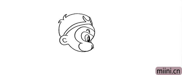 6.接着画出他的眼睛和眉毛.眼睛留出高光部分。