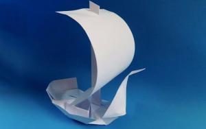 很帅气的折纸立体帆船,寓意一帆风顺