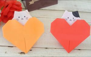 折纸爱心小猫咪,送给老师和妈妈都可以