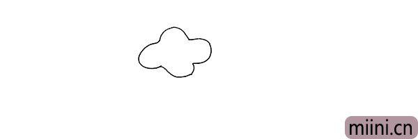 1.首先画出牵牛花的花瓣.像一片云朵。