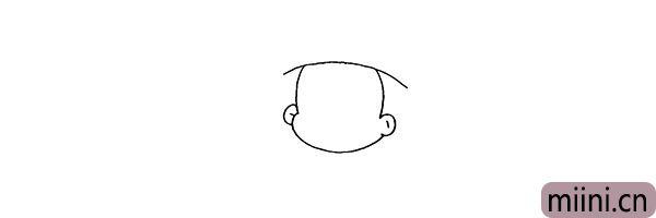 2.再来画出小梅的脸颊以及耳朵部分。