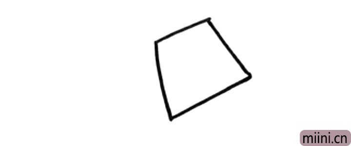 1.先画一个倾斜的梯形,是水壶的身体部分。