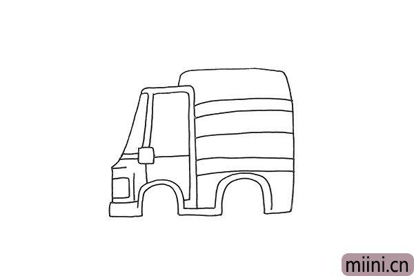 5.我们用线条勾勒出车厢的纹理。