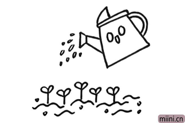 6.在水壶下方画一些小苗,然后用波浪线表示土地。